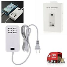 NEW 6 Port USB Desktop Multi-Function Fast Wall Charger Station AC Power Adapter