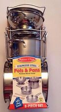 New Sealed Melissa & Doug 8-Piece Stainless Steel Pots and Pans Playset for Kids