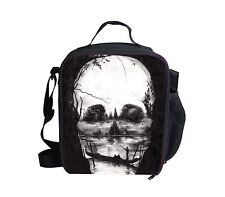 Unique Skull Printed Insulated Lunch Bags Small Kids School Lunch Box Tote Bag