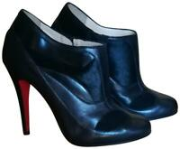 CHRISTIAN LOUBOUTIN 36 5 5.5 JS BELLE BLACK LEATHER SUEDE MIXED MEDIA ANKLE BOOT