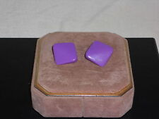 PURPLE DIAMOND SQUARE SHAPED CLIP ON EARRINGS PLASTIC