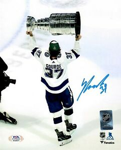 Yanni Gourde autographed signed 8x10 photo NHL Tampa Bay Lightning PSA COA