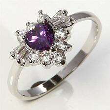Women's 10K White Gold Filled Amethyst Heart Ring with Accents Size 7.25