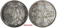 GREAT BRITAIN Victoria Silver 1887 Double Florin Mintage-483,000 Roman XF KM#763
