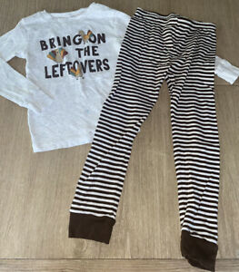 Carter's Toddler Boy 5T 2-Piece Snug Fit Thanksgiving Long Sleeve Pajama Set-EUC