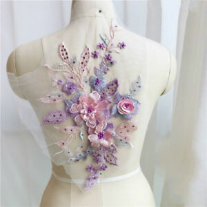3D Bridal Lace Beaded Embroidery Floral Applique Patch Decorative Sewing 9 Color