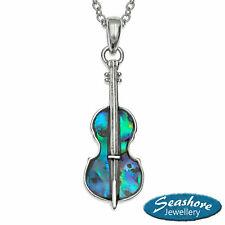 "Violin Necklace Paua Abalone Shell Pendant Womens Silver Fashion Jewellery 18"""