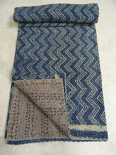 Indian Twin Kantha Quilt Indigo design Gudri Handmade Bedspreads Throws 003