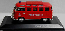 VW 1962 Auto Mini Bus Germany Fire Department T1 Van Model Toy Bus Miniature Car