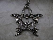 Anhänger Fledermaus Vampir Bat Gothic Pentagramm mit Kette