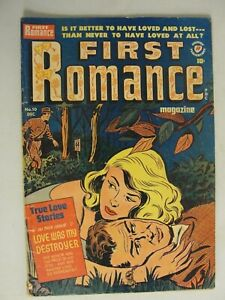 "1951 ""FIRST ROMANCE #10"" True Love Stories 10 Cent Comic VG OWW Pages Vol #1 #10"
