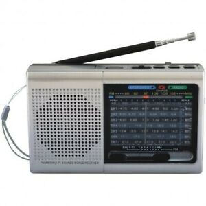 Supersonic 9-Band Rechargeable Bluetooth AM/FM Radio (Silver) with USB/SD MP3