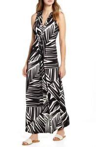 NWT Tommy Bahama Bangle Sleeveless Stripe Maxi Dress Black Size S $175