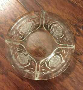 Vintage Kig Indonesia Etched Rose Ash Tray Trinket Coin Key Dish