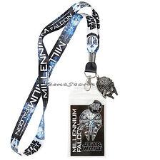Disney Star Wars Millennium Falcon Lanyard ID Card Pin Holder w/ Metal Charm NEW