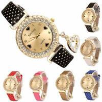 Fashion Gift Women Diamond Quartz Wrist Watch Love Heart Bracelet Leather Watch