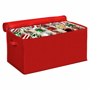 """Xmas Ornament Storage Container with Dividers Fits Up to 54 - 4"""" Ornaments,"""