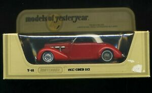 MATCHBOX MODELS OF YESTERYEAR 1978 LESNEY  Y12  1937 CORD 812   POST FREE
