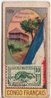 French Congo Africa  Pre-WWII Trade Ad Card Showing Postage Stamp Flag