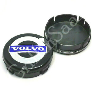 1x Volvo Alloy Wheel Centre Hub Cap 64mm Black & Blue C30 C70 S40 V50 S60 V70