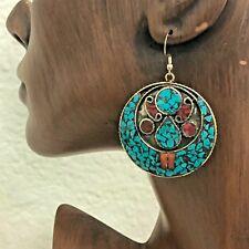 Turquoise Coral Earrings Silver Plated Nepalese Tibetan Handmade Tibet  ER01d