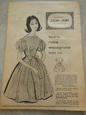 ancien PATRON echo de la mode 1960 robe Espagnole taille 44 jamais utilisé