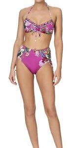 Camilla - BNWT Tri Top & Rouched Side High Bikini Print: Jungle Language Size XS