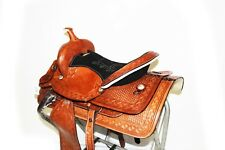 "16"" WESTERN DIAMOND BARREL RODEO SHOW HORSE TRAIL TOOLED LEATHER SADDLE TACK"