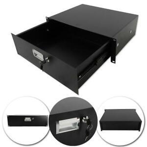 "19"" Rack Mount 3U Locking Drawer Pro Audio DJ Server Rack Lock Storage Cabinet"