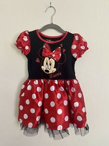 Preowned Disney Toddler Girls Red & Black Minnie Mouse Dress 3T