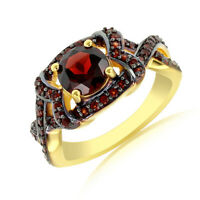 1.67 Ct Round Red Garnet Solitaire Engagement Ring 18K Gold Over Sterling Silver
