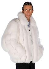 Mens Real Natural White Fox Fur Jacket Coat Zippered