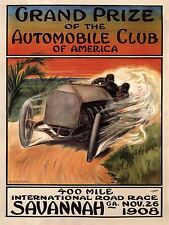 SPORT MOTOR RACING GRAND PRIZE AUTOMOBILE CLUB AMERICA USA VINTAGE POSTER 911PY