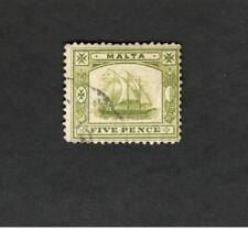 Malta SCOTT #45 Five Pence used stamp SHIP