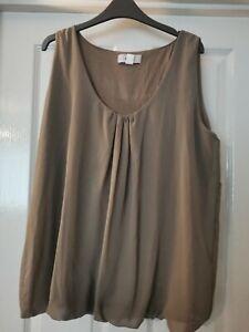 Heine Ladies Brown/beige Sleeveless Top. Size 20