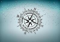 Autocollant sticker voiture moto boussole compass vintage r2 nautique