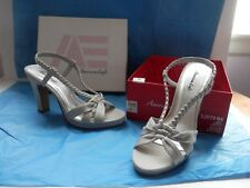 American Eagle SUPER SEXY Strappy Sandal, Sling Back, Silvery Taupe, 9 M