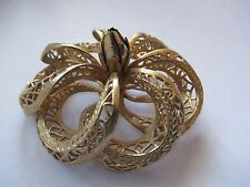 GORGEOUS GOLD TONED TWISTED FILIGREE VINTAGE BROOCH SIGNED COROCRAFT