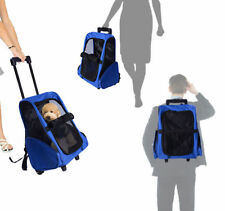PawHut Transporttasche Hundetrolley Tragetasche Tiere 2in1 Rucksack Trolley blau