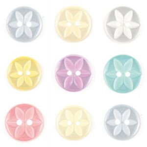 Round Star Flower 2 Hole  Buttons- 3 Sizes 7 Colours - Free Postage