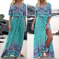 Sexy Women Long Maxi Long Sleeved Dress V Neck Floral Print Beach Party Dress