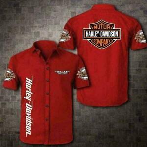 Men's Harley Davidson Red Button Up Short Sleeve Hawaiian Shirt All Size