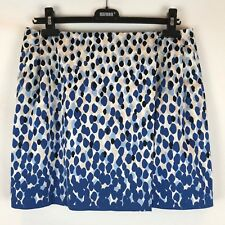 PORTMANS Women's Size 14 Blue & Black Printed Fully Lined Mini Skirt Wrap Look