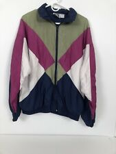 vintage active wear windbreaker green, pink, white and blue large Colorblocked