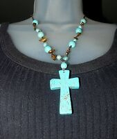 Beautiful Turquoise Cross with Turquoise  Bead Necklace