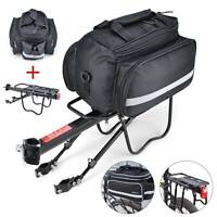 Bicycle Rear Seat + Bag MTB Pannier Carrier Rack  Kits+Removable Carry Saddle UK