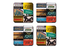 Personalized Coasters featuring the name JONES in photos of signs - Set of 4