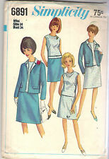 Simplicity Pattern 6891, Vintage Jacket, Blouse and Skirt, Size 14, Bust 34