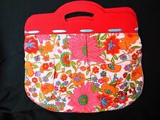 Floral Canvas Handbag Yarn Craft Knitting Bag w/Red Canvas on Wooden Handles
