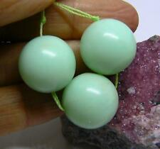 3 RARE NATURAL APPLE GREEN AUSTRALIAN CHRYSOPRASE ROUND BEADS 16mm 85cts AAA+++